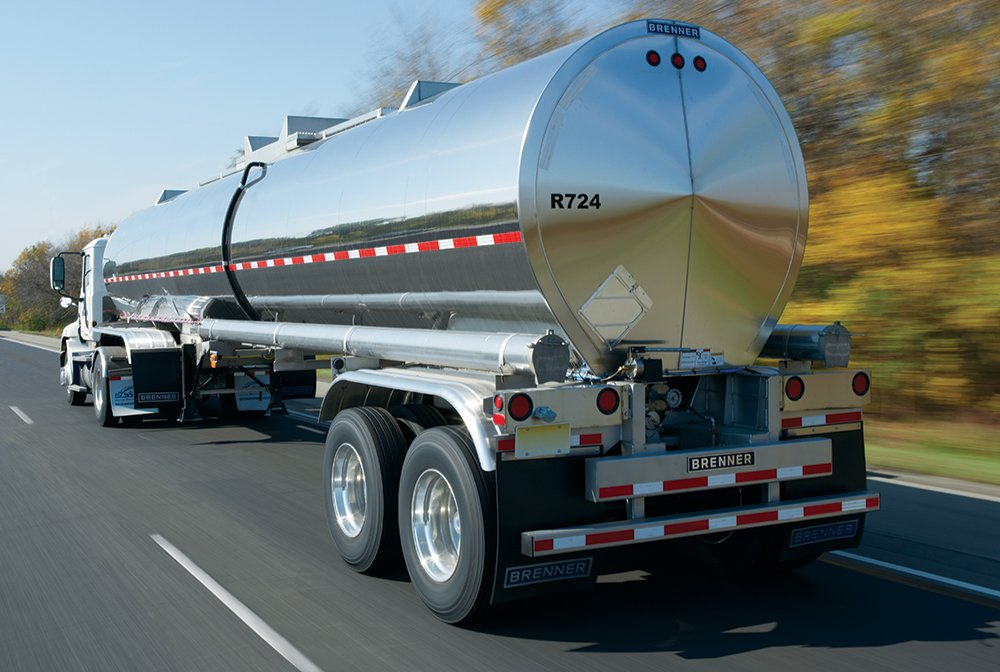 chemical tanker capacity trailer driving on highway