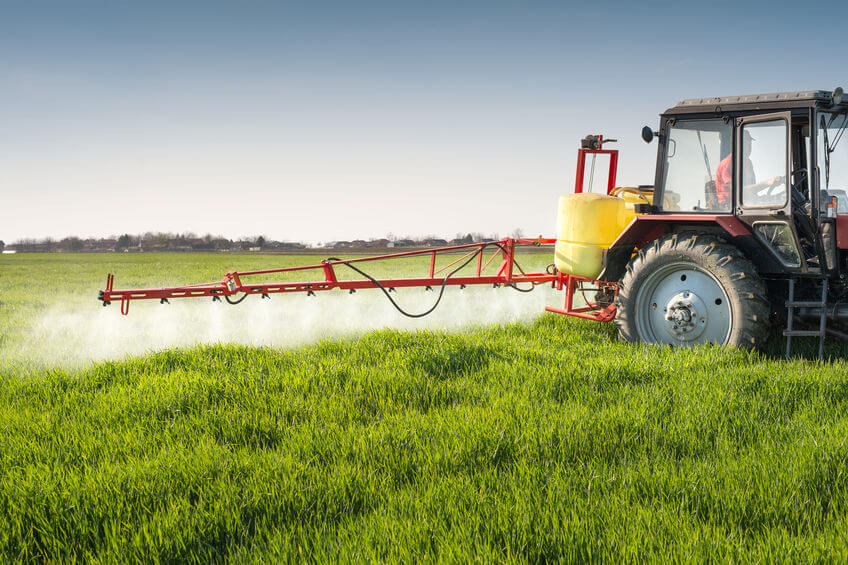 insecticides spreading on farm
