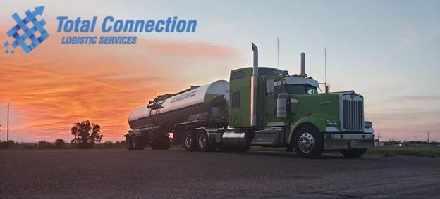 liquid bulk fertilizer tanker at sunset